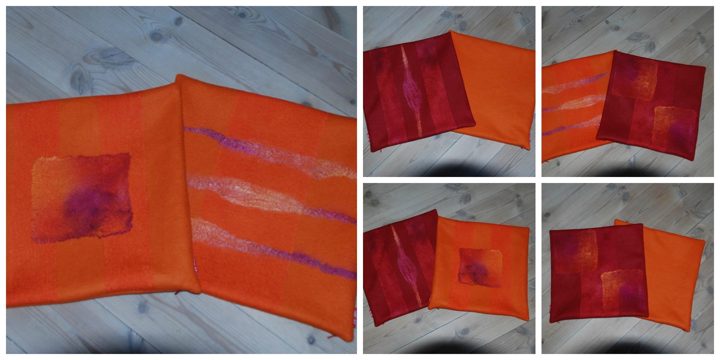 Modernistisk 4 puter i merinoull med silkestoff og silketråder som pynt i rød MX-88