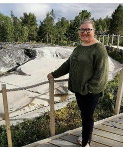Astrid florlette genser, Strikkeoppskrift, Silkmohair, dobbeltråd.